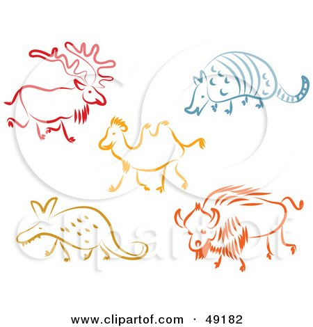 Royalty-Free (RF) Clipart Illustration of a Digital Collage Of A Reindeer, Armadillo, Camel, Aardvark And Bull by Prawny