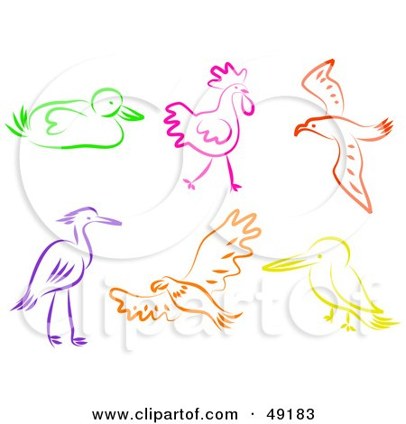 Royalty-Free (RF) Clipart Illustration of a Digital Collage of Colorful Birds by Prawny