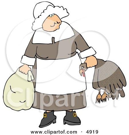 Elderly Pilgrim Woman Carrying a Dead Turkey by Its Neck Clipart by djart