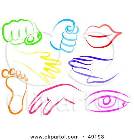 Royalty-Free (RF) Clipart Illustration of a Digital Collage Of Colorful Hands, Fists, Lips, Feet And Eyes by Prawny