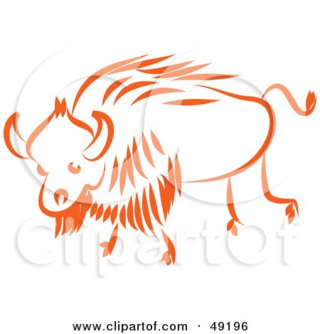 Royalty-Free (RF) Clipart Illustration of an Orange Ox by Prawny