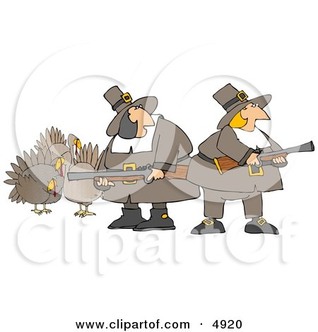 Humorous Pilgrim Women Armed with Turkey Bird Hunting Musket Guns Clipart by djart