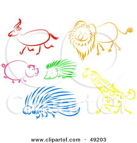 Royalty-Free (RF) Clipart Illustration of a Digital Collage Of An Antelope, Lion, Pig, Hedgehog, Porcupine And Giraffe by Prawny