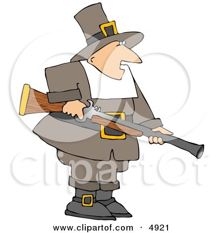 Pilgrim Man Hunting for Wild Turkey - Thanksgiving Clipart Posters, Art Prints
