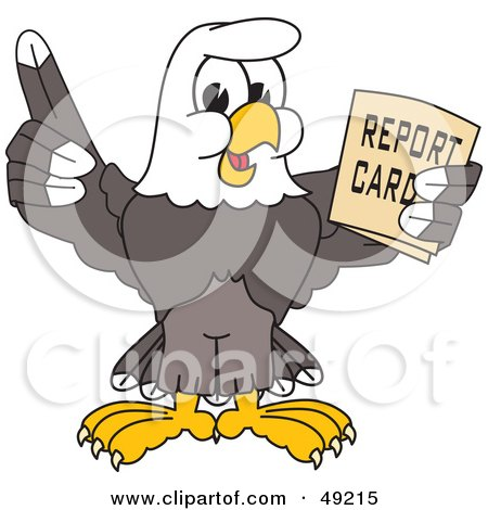 Royalty-Free (RF) Clipart Illustration of a Bald Eagle Character Holding a Report Card by Toons4Biz