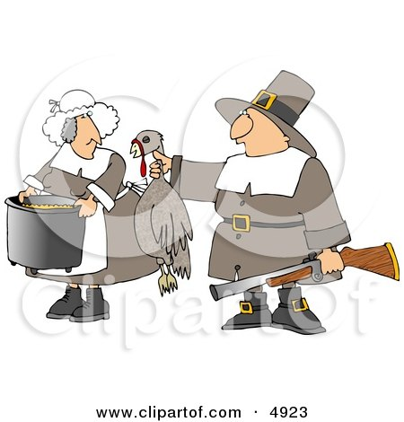 Male Pilgrim Hunter Holding up a Dead Turkey for His Wife to Cook - Thanksgiving Posters, Art Prints