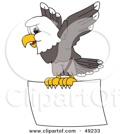 Royalty-Free (RF) Clipart Illustration of a Bald Eagle Character Flying a Sign by Toons4Biz