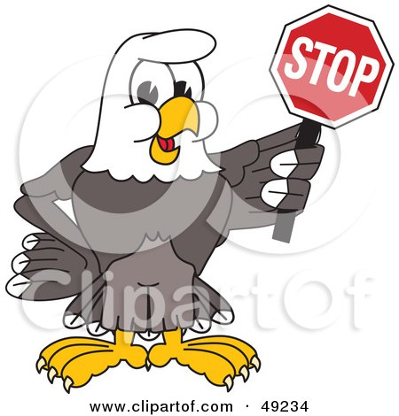 Royalty-Free (RF) Clipart Illustration of a Bald Eagle Character Holding a Stop Sign by Toons4Biz