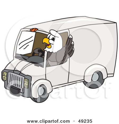 Royalty-Free (RF) Clipart Illustration of a Bald Eagle Character Driving a Delivery Van by Toons4Biz