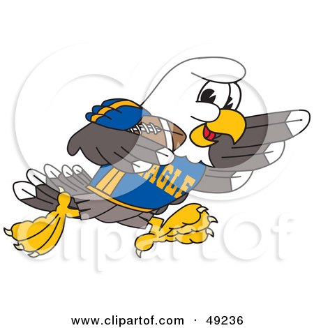 Royalty-Free (RF) Clipart Illustration of a Bald Eagle Character Playing Football by Toons4Biz