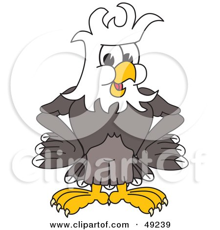 Royalty-Free (RF) Clipart Illustration of a Bald Eagle Character With Messy Hair by Toons4Biz