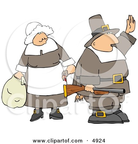 Halt! We're Having Turkey Tonight My Pilgrim Family and Friends Clipart by djart