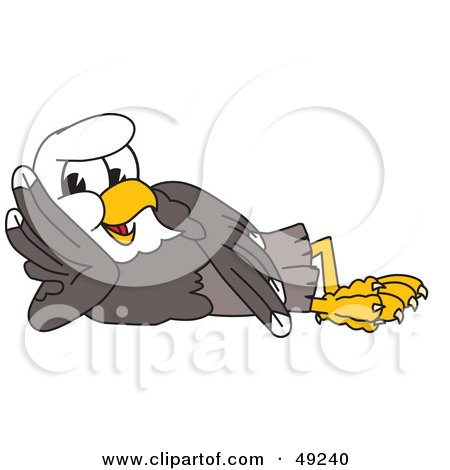 Royalty-Free (RF) Clipart Illustration of a Bald Eagle Character Reclined by Toons4Biz