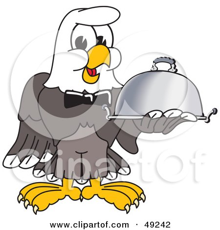 Royalty-Free (RF) Clipart Illustration of a Bald Eagle Character Serving a Platter by Toons4Biz