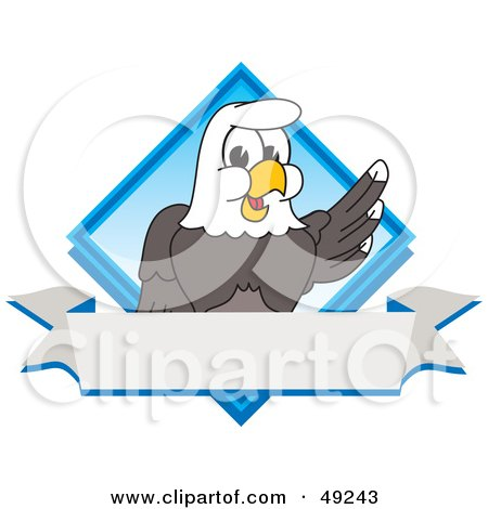 Royalty-Free (RF) Clipart Illustration of a Bald Eagle Character Diamond and Banner Logo by Toons4Biz