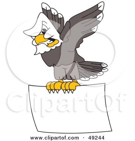 Royalty-Free (RF) Clipart Illustration of an Aggressive Bald Eagle Character Flying a Sign by Toons4Biz