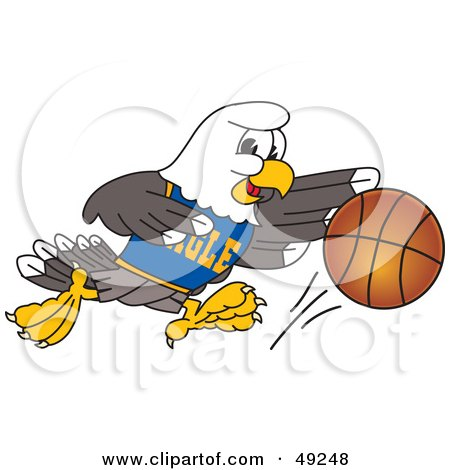 Royalty-Free (RF) Clipart Illustration of a Bald Eagle Character Dribbling a Basketball by Toons4Biz