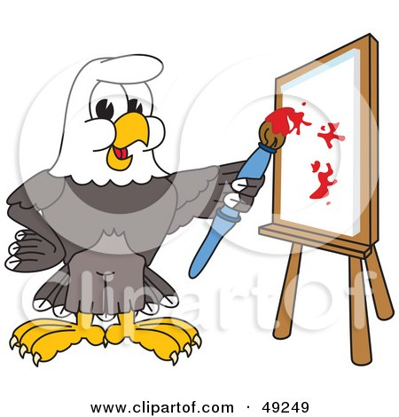 Royalty-Free (RF) Clipart Illustration of a Bald Eagle Character Painting by Toons4Biz
