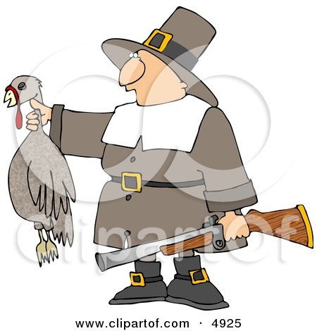 Successful Male Pilgrim Hunter Holding a Dead Turkey and a Gun - Thanksgiving Holiday Posters, Art Prints