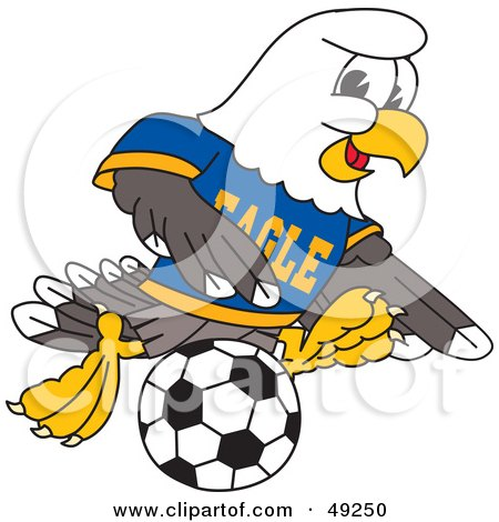 Royalty-Free (RF) Clipart Illustration of a Bald Eagle Character Playing Soccer by Toons4Biz