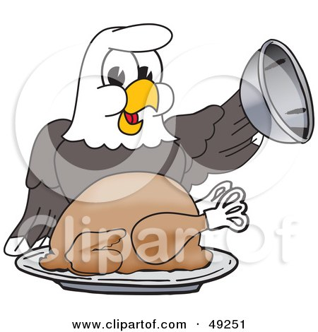 Royalty-Free (RF) Clipart Illustration of a Bald Eagle Character Serving Thanksgiving Turkey by Toons4Biz