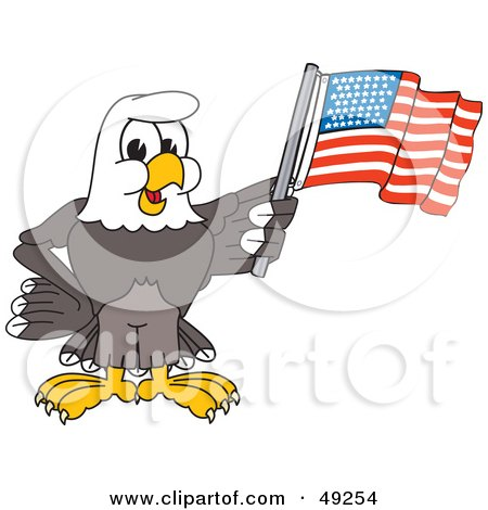 Royalty-Free (RF) Clipart Illustration of a Bald Eagle Character Waving an American Flag by Toons4Biz
