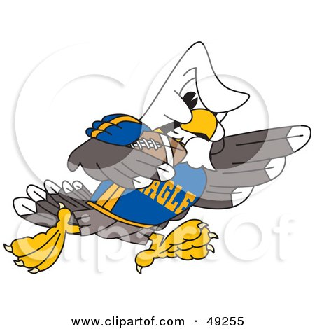 Royalty-Free (RF) Clipart Illustration of a Bald Eagle Character Running in a Football Game by Toons4Biz