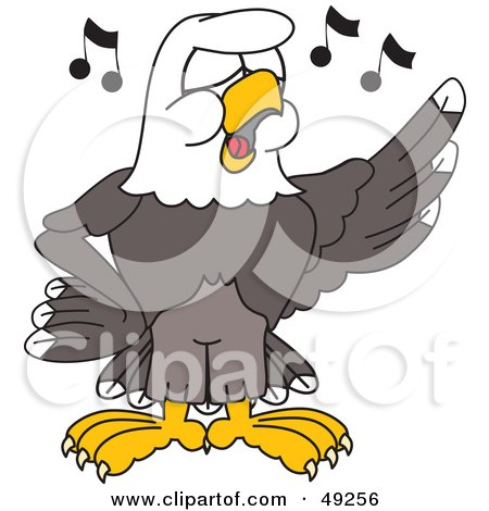 Royalty-Free (RF) Clipart Illustration of a Bald Eagle Character Singing in Choir by Toons4Biz