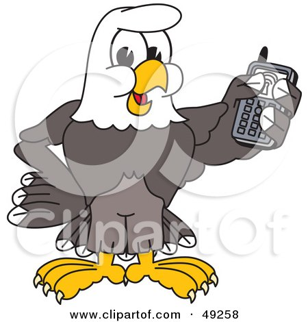 Royalty-Free (RF) Clipart Illustration of a Bald Eagle Character Holding a Cell Phone by Toons4Biz
