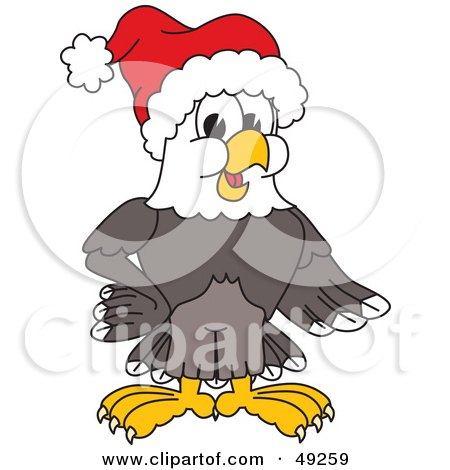 Royalty-Free (RF) Clipart Illustration of a Bald Eagle Character Wearing a Santa Hat by Toons4Biz