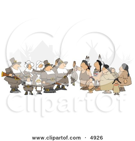 Unpredictable Group of Pilgrims Offering a Dead Turkey to Indians - Thanksgiving Clipart Posters, Art Prints
