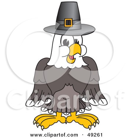 Royalty-Free (RF) Clipart Illustration of a Bald Eagle Character Wearing a Pilgrim Hat by Toons4Biz
