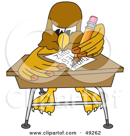 Royalty-Free (RF) Clipart Illustration of a Hawk Mascot Character Taking a Quiz by Toons4Biz
