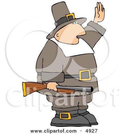Armed Pilgrim Man Waving His Hand In the Air Clipart by djart