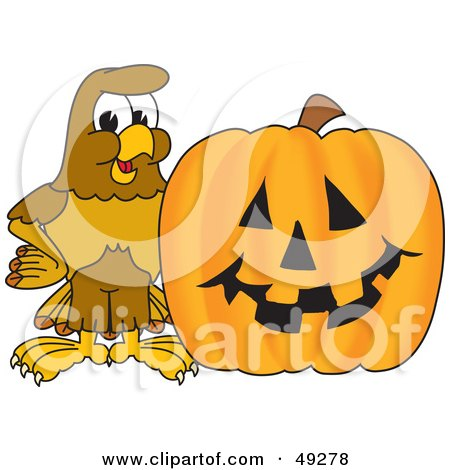 Royalty-Free (RF) Clipart Illustration of a Hawk Mascot Character With a Pumpkin by Toons4Biz