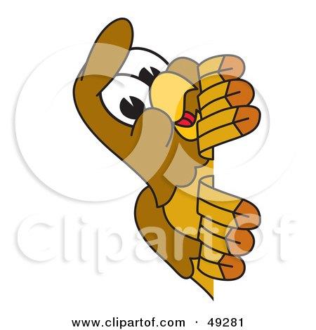 Royalty-Free (RF) Clipart Illustration of a Hawk Mascot Character Peeking by Toons4Biz
