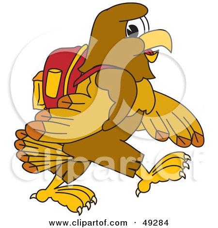 Cartoon Characters Walking To School. Hawk Mascot Character Walking