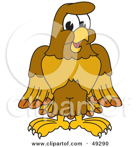 Royalty-Free (RF) Clipart Illustration of a Hawk Mascot Character by Toons4Biz