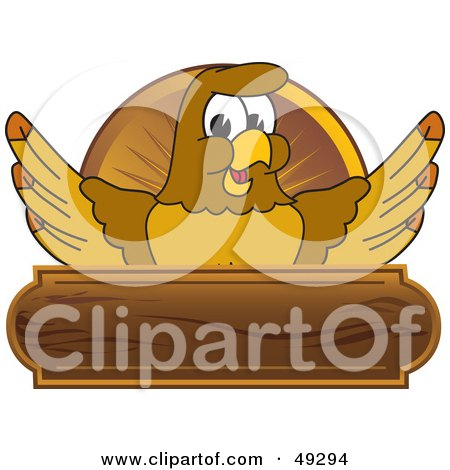 Royalty-Free (RF) Clipart Illustration of a Hawk Mascot Character Wooden Plaque Logo by Toons4Biz