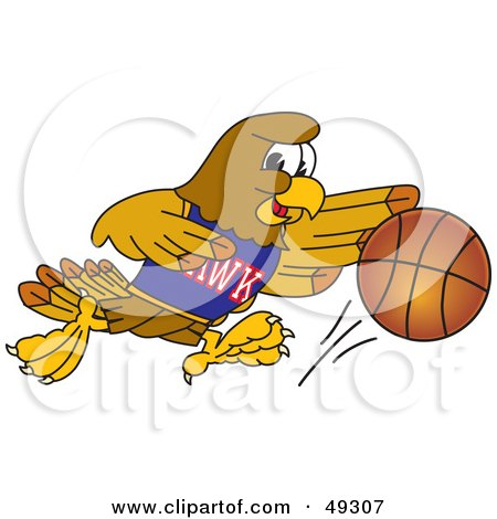 Royalty-Free (RF) Clipart Illustration of a Hawk Mascot Character Dribbling a Basketball by Toons4Biz
