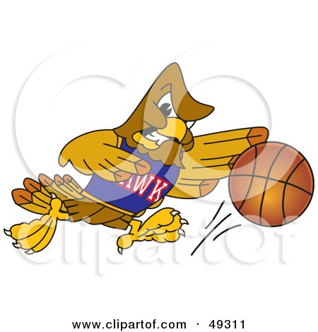 Royalty-Free (RF) Clipart Illustration of a Hawk Mascot Character in a Basketball Game by Toons4Biz