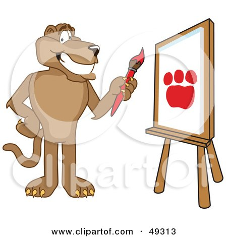 Royalty-Free (RF) Clipart Illustration of a Cougar Mascot Character Painting by Toons4Biz