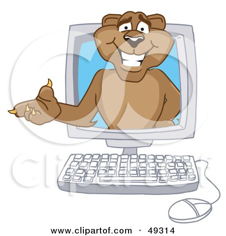 Royalty-Free (RF) Clipart Illustration of a Cougar Mascot Character in a Compuater by Toons4Biz