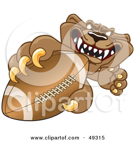 Royalty-Free (RF) Clipart Illustration of a Cougar Mascot Character Grasping a Football by Toons4Biz