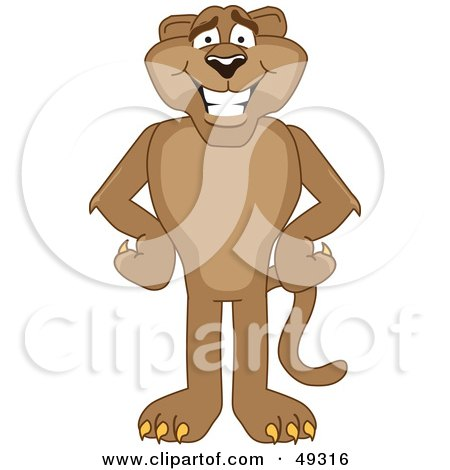 Royalty-Free (RF) Clipart Illustration of a Cougar Mascot Character With His Hands on His Hips by Toons4Biz