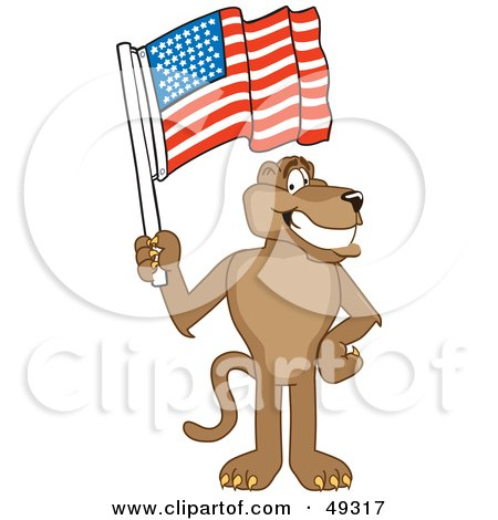 Royalty-Free (RF) Clipart Illustration of a Cougar Mascot Character Waving an American Flag by Toons4Biz