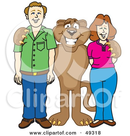 Royalty-Free (RF) Clipart Illustration of a Cougar Mascot Character With Adults by Toons4Biz