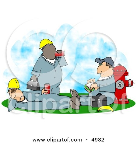 Three Male Workers Taking a Lunch Break Clipart by Dennis Cox
