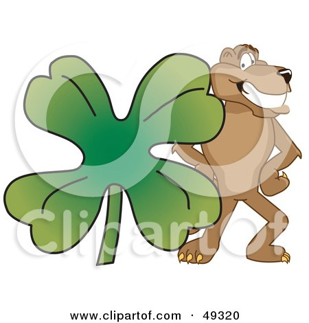 Royalty-Free (RF) Clipart Illustration of a Cougar Mascot Character With a Clover by Toons4Biz