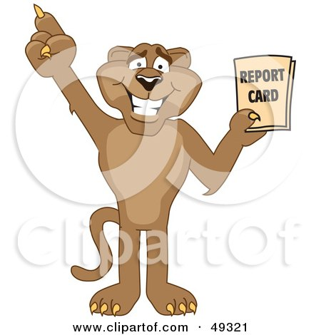 Royalty-Free (RF) Clipart Illustration of a Cougar Mascot Character Holding a Report Card by Toons4Biz